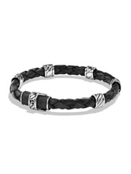 David Yurman Cable Collection Sterling Silver And Leather Bracelet Black Silver