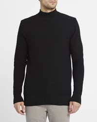 M.Studio Black Axel High Collar Sweater