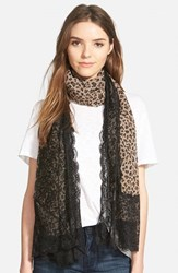 La Fiorentina Women's Animal Print Scarf Brown