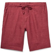 Loro Piana Slim Fit Linen Drawstring Bermuda Shorts Red
