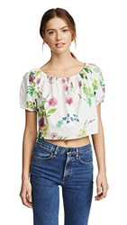Mds Stripes Cropped Peasant Top Floral