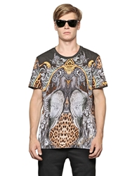 Just Cavalli Peacock And Leopard Printed Cotton T Shirt