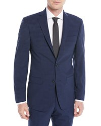 Michael Kors Slim Fit Check Two Piece Suit Blue