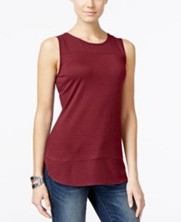 Inc International Concepts Mixed Media Tank Top Only At Macy's Glazed Berry