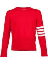 Thom Browne Short Crewneck Pullover With 4 Bar Stripe In Red Cashmere Cashmere