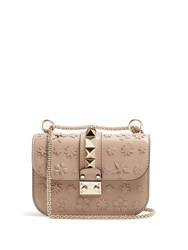 Valentino Floral Applique Leather Cross Body Bag Nude