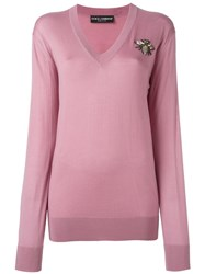 Dolce And Gabbana Bee Applique Jumper Pink And Purple