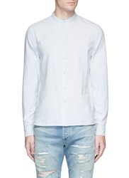 Denham Jeans Stripe Cotton Linen Hopsack Shirt Blue