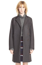 Marc By Marc Jacobs 'Norman' Bonded Wool Coat Caviar Grey Melange