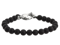 King Baby Studio Onyx Bead Bracelet With Silver Clasp