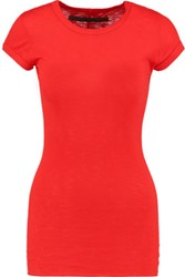Enza Costa Ribbed Cotton Top Red