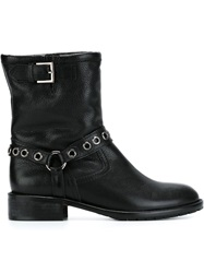 Red Valentino Eyelet Motorcycle Boots Black
