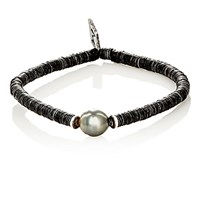 M Cohen M. Men's Sibyl Pearl And Disk Bead Bracelet White