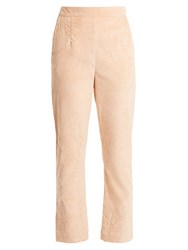 Isa Arfen Slim Leg Crushed Velvet Cotton Blend Trousers Light Pink