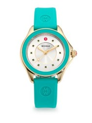 Michele Cape Green Topaz Goldtone Stainless Steel And Silicone Strap Watch Green