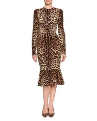 Long Sleeve Leopard Print Midi Dress
