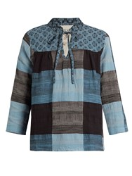 Ace And Jig Constance Plaid Jacquard Cotton Top Blue Multi