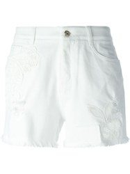 Ermanno Scervino Embroidered Denim Shorts White