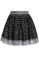 Maje Flared Embroidered Mesh Mini Skirt Black