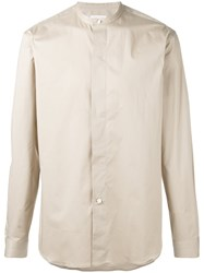 Christophe Lemaire Officer Collar Shirt Men Cotton Spandex Elastane 52 Nude Neutrals