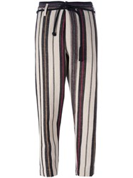 Forte Forte Striped Tapered Trousers Multicolour