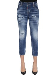 Dsquared Cool Girl Cropped Destroyed Denim Jeans Blue