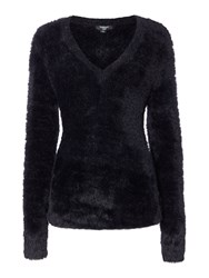 Therapy Fluffy V Neck Jumper Black