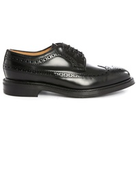Loake Sovereign Longwing Black Leather Derbies