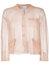 Red Valentino Point D'esprit Cropped Blazer 60