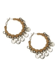 Catherine Stein Leatherette Wrapped Hoop Earrings 1.25In Silver