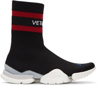 Vetements Black Reebok Edition Sock Pump High Top Sneakers