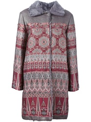 Alberta Ferretti Jacquard Coat Pink And Purple