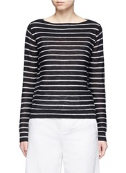 Vince Stripe Boat Neck Cashmere Sweater Black