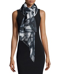 Neiman Marcus Storm Cloud Printed Fringe Scarf Black White