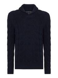Howick Men's Anderson Cable Shawl Neck Cotton Jumper Navy