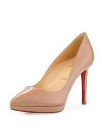 Christian Louboutin Pigalle Plato Patent Red Sole Pump Nude