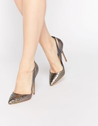 Daisy Street Iridescent Heeled Court Shoes Multi