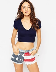 Asos Crop Top In Rib With Short Sleeves And V Neck Navy