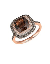 Lord And Taylor Smoky Quartz White Brown Diamond 14K Rose Gold Ring