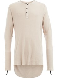 Cedric Jacquemyn High Low Henley Tee Nude And Neutrals