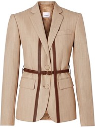 Burberry Leather Harness Detail Wool Tailored Jacket Neutrals