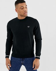 Fred Perry Tipped Cuff Logo Crew Neck Sweat In Black Black