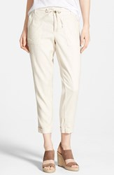 Women's Cj By Cookie Johnson Relaxed Linen Blend Cargo Pants Oatmeal