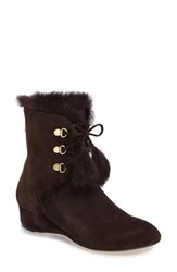 Taryn Rose Women's Forsters Genuine Rabbit Fur Bootie Dark Chocolate Suede