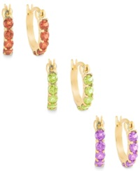 Victoria Townsend Multi Stone Hoop Earrings Set In 18K Gold Over Sterling Silver Gold Multi