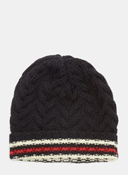 Thom Browne Striped Cable Knit Beanie Hat Navy