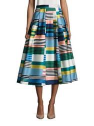 Lk Bennett Multi Pattern Pleated Silk Blend Skirt Multicolor