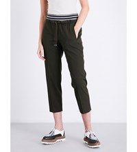 Brunello Cucinelli Tapered Cropped Wool And Cotton Blend Trousers Military Green