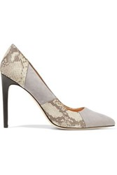 Halston Paneled Suede And Snake Effect Leather Pumps Gray