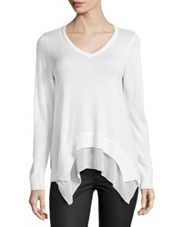 Dex V Neck Chiffon Trimmed Sweater Ivory